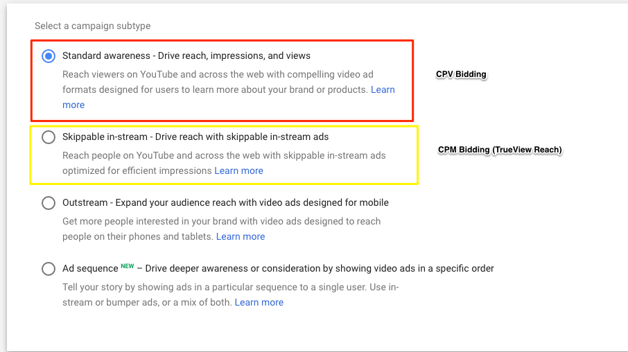 Updates to Google Ads: Types of in-stream reach campaigns